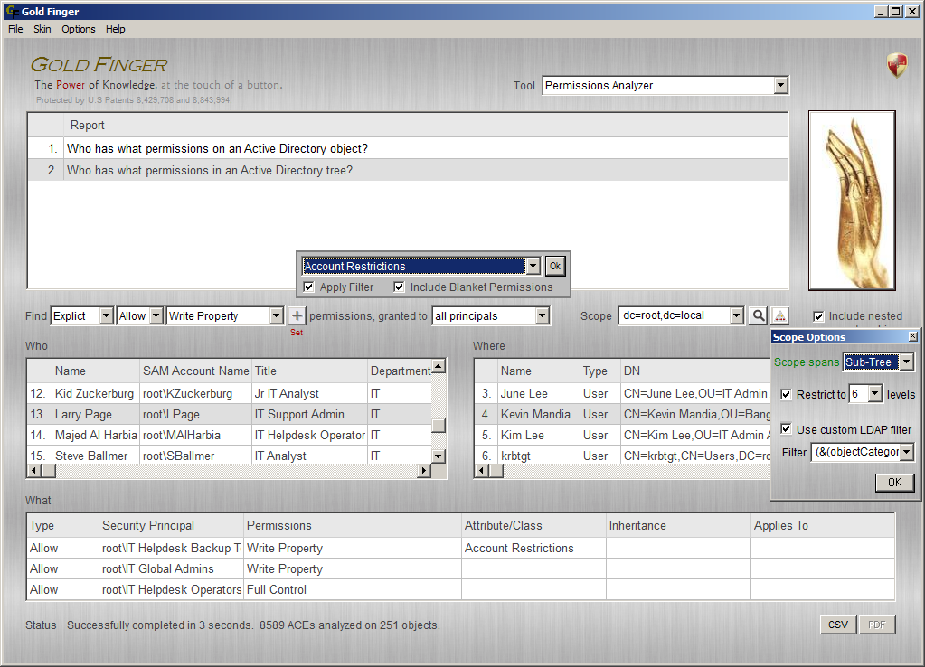 Active Directory Permissions Analyzer