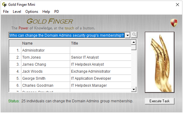 Gold Finger Mini - Active Directory Password Reset Analysis Tool